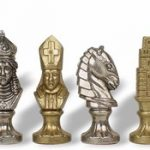 Medieval Theme Chess Set Brass & Nickel Pieces