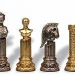 Roman Emperor Bust Theme Chess Set Brass & Nickel Pieces