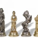 Mary Stuart Queen of Scots Theme Chess Set Brass & Nickel Pieces