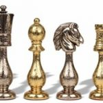 Arabesque Brass & Nickel Plated Staunton Chess Set