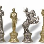 Large Napoleon Theme Chess Set with Hand Painted Brass & Nickel Pieces