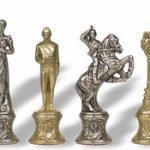 Napoleon Theme Chess Set Brass & Nickel Pieces