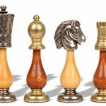Persian Metal & Wood Staunton Chess Set