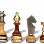 Silhouette Knight Brass & Wood Chess Set