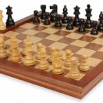 French Lardy Staunton Chess Set in Ebonized Boxwood with Walnut Folding Chess Case – 3.25″ King
