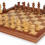 French Lardy Staunton Chess Set in Golden Rosewood & Boxwood with Walnut Folding Chess Case – 3.25″ King
