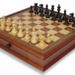 British Staunton Chess Set in Ebonized Boxwood with Walnut Chess Case – 3″ King