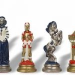 Mary Stuart Queen of Scots Theme Chess Set Brass & Nickel Hand Painted Pieces