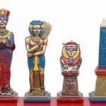Egyptian Theme Chess Set Brass & Nickel Hand Painted Pieces