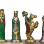 Small Medieval Theme Chess Set Brass & Nickel Hand Painted Pieces