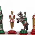 Small Camelot Theme Chess Set Brass & Nickel Hand Painted Pieces