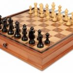 Bohemia Staunton Chess Set in Ebonized Boxwood & Boxwood with Chess Case – 3.75″ King