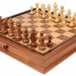 Bohemia Staunton Chess Set in Golden Rosewood & Boxwood with Chess Case – 3.75″ King