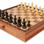 Fierce Knight Staunton Chess Set in Ebonized Boxwood & Boxwood with Walnut Chess Case – 3.5″ King