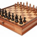 Fierce Knight Staunton Chess Set in Ebonized Boxwood & Golden Rosewood with Walnut Chess Case – 3.5″ King