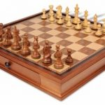 Fierce Knight Staunton Chess Set in Golden Rosewood & Boxwood with Walnut Chess Case – 3.5″ King