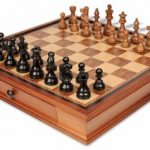 French Lardy Staunton Chess Set in Ebonized Boxwood & Golden Rosewood with Walnut Chess Case – 3.75″ King