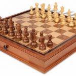 French Lardy Staunton Chess Set in Golden Rosewood & Boxwood with Walnut Chess Case – 3.75″ King
