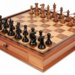 New Exclusive Staunton Chess Set in Ebonized Boxwood & Golden Rosewood with Walnut Chess Case – 3.5″ King