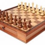 New Exclusive Staunton Chess Set in Golden Rosewood & Boxwood with Walnut Chess Case – 3.5″ King