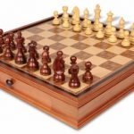 German Knight Staunton Chess Set in Rosewood & Boxwood with Chess Case – 3.75″ King