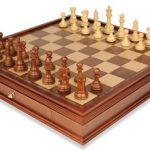 British Staunton Chess Set in Golden Rosewood & Boxwood with Large Walnut Chess Case – 4″ King