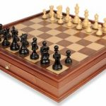 Deluxe Old Club Staunton Chess Set in Ebonized Boxwood &  with Large Walnut Chess Case – 3.75″ King