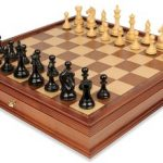 Fierce Knight Staunton Chess Set in Ebonized Boxwood with Walnut Chess Case – 4″ King