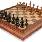 Fierce Knight Staunton Chess Set in Ebonized Boxwood & Golden Rosewood with Walnut Chess Case – 4″ King