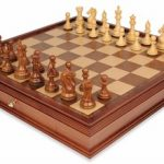 Fierce Knight Staunton Chess Set in Golden Rosewood & Boxwood with Walnut Chess Case – 4″ King