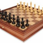 New Exclusive Staunton Chess Set in Ebonized Boxwood & Boxwood with Large Walnut Chess Case – 4″ King