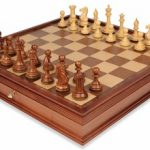 New Exclusive Staunton Chess Set in Golden Rosewood & Boxwood with Large Walnut Chess Case – 4″ King