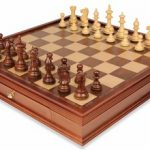 Royal Staunton Chess Set in Golden Rosewood & Boxwood with Large Walnut Chess Case – 4″ King