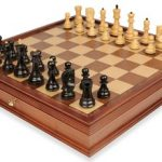 Yugoslavia Staunton Chess Set in Ebonized Boxwood & Boxwood with Large Walnut Chess Case – 3.875″ King