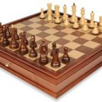 Yugoslavia Staunton Chess Set in Golden Rosewood & Boxwood with Large Walnut Chess Case – 3.875″ King