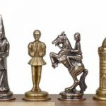 Small Camelot Theme Chess Set Brass & Nickel Pieces