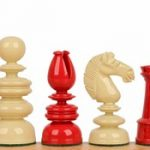 Calvert Antique Reproduction Chess Set in Red & Ivory – 4.4″ King