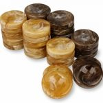 Marblized Backgammon Chips Brown & Camel – 1.25″