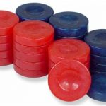 Mother of Pearl Design Backgammon Chips in Blue & Red – 1.25″