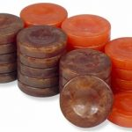 Mother of Pearl Design Backgammon Chips in Brown & Orange – 1.25″