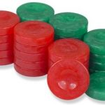 Mother of Pearl Design Backgammon Chips in Red & Green – 1.5″