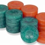 Mother of Pearl Design Backgammon Chips in Teal & Salmon – 1.75″