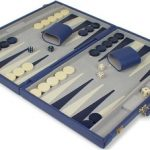 Blue Leatherette Deluxe Backgammon Set – Large Attache