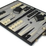 Black Leatherette Deluxe Backgammon Set – Medium Attache