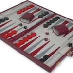 Burgundy Leatherette Deluxe Backgammon Set – Medium Attache