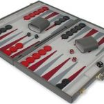 Gray Leatherette Deluxe Backgammon Set – Medium Attache