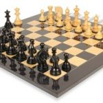 Patton Staunton Chess Set in Ebony & Boxwood with Black & Ash Burl Chess Board – 4.25″ King
