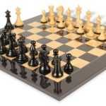 Pershing Staunton Chess Set in Ebony & Boxwood with Black & Ash Burl Chess Board – 4.25″ King