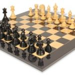 Cyrus Staunton Chess Set in Ebony & Boxwood with Black & Ash Burl Chess Board – 4.4″ King
