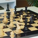 Grande Staunton Chess Set in Ebony & Boxwood with Black & Ash Burl Chess Board – 4″ King